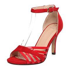 COOLCEPT Mujer Elegant Tacon De Aguja Tacon Alto Punta Abierta Sandalias Al Tobillo Zapatos – Comprar Gangas