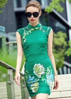 Fashion Green Lace Joint Floral Embroidery Bodycon Qipao Dress - iDreamMart.com