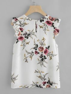 Blouse Summer Women Floral Print Butterfly Sleeve Blouse Crop Tops Chiffon Sleeveless ONeck Color Blouse Femmes Tops Et Blouses Casual Outfits, Fashion Outfits, Fashion Clothes, Fall Fashion, Shell Tops, Outfit Trends, Beautiful Blouses, Look Chic, Mode Style