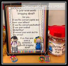 Teaching With Love and Laughter: Brag Tags Giveaway and FREE WOW Work Jar Sign