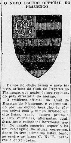 Novo escudo do Flamengo - 1921 - era anunciado pela primeira vez na imprensa (Bruno Lucena / jornal O Imparcial).