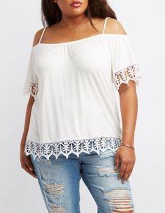 Plus Size Crochet Trim Cold Shoulder Top