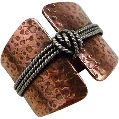 Rustic Copper And Silver Knot Ring
