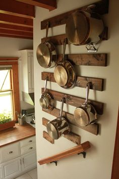 DIY Wall Mounted Pot and Pan Rack: