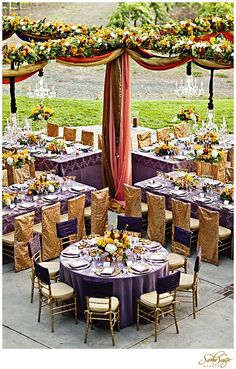 Wedding of Jennie & Dave (Reception & Dancing Details) – As Seen in Destination Weddings & Honeymoons Magazine Reception Layout, Wedding Reception Seating, Seating Chart Wedding, Wedding Reception Decorations, Wedding Table, Wedding Receptions, Reception Ideas, Wedding Ceremony, Purple And Gold Wedding