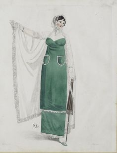 I like this rather odd outfit. The pockets are unusual, as is the shawl with sleeves. Undated, but could be Miroir des modes publication(?)