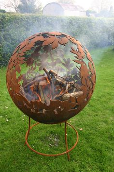 Fire Sphere Sculptural Fire Pit ''Leaf'' by CraftsmeninMetalUK