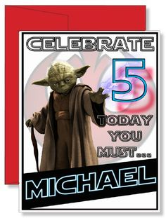 Personalized Birthday Greeting Card Star Wars Yoda Birthday Greeting Cards, Birthday Greetings, 4th Birthday Parties, 5th Birthday, Birthday Ideas, Family Vacation Shirts, Personalized Greeting Cards, Red Envelope, Star Wars Birthday