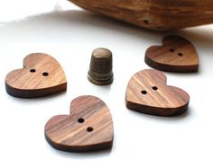 4 giant chesnut wood buttons, heart shaped giant buttons, wooden giant buttons 40mm width