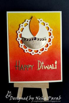 Hello Everyone! Long time no see? Yup, I have been busy taking care of some personal stuff. Now that things are sorted and I'm back to rou. Diy Diwali Cards, Handmade Diwali Greeting Cards, Diwali Diy, Diwali Craft, Happy Diwali, Handmade Birthday Cards, Diy Cards, Paper Crafts Origami, Paper Crafts For Kids