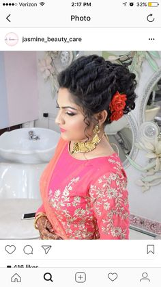 Indian Bridal Hairstyles, Braided Hairstyles Tutorials, Formal Hairstyles, Bride Hairstyles, Bridal Hairdo, Hairdo Wedding, Hair Styel, Hair Goals Color, Lehenga Hairstyles