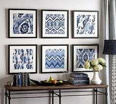 gq Framed Fabric Wall Decor– When I saw the below wall decor collection being sold at Pottery Barn I immediately thought how easy it would be to create the same look using fabric. Pottery Barn Wall Art, Pottery Barn Hacks, Pottery Barn Entryway, Diy Wand, Diy Artwork, Diy Wall Art, Blue Artwork, White Decor, Home Accessories