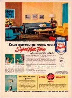 1954 Super KEM Tone House Paint Old Paint Ad 1950s Interior Decorating Ad | eBay