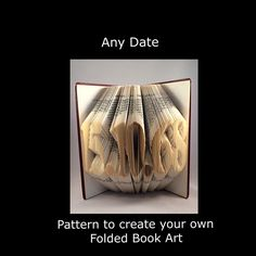 ANY DATE  Book Fold PATTERN to create your own folded book art