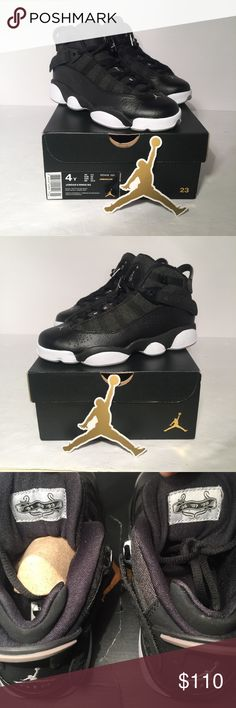 Nike Air Jordan 6 Rings Black and Gold Size 4Y New may have a small blemish or two because of handling. Never worn! I actually bought for my son and he tried on the left shoe and it was too big. Shoes are fire  Nike Shoes Sneakers