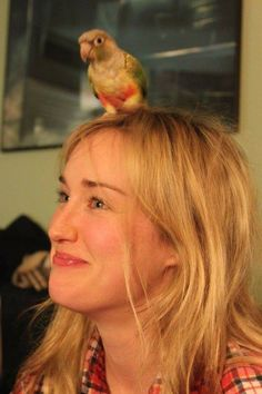 Ashley Johnson with a parrot on her head. Just for lolz. Critical Role Characters, Critical Role Fan Art, Liam O Brien, Critical Role Campaign 2, The Last Of Us2, Ashley Johnson, Vox Machina, The Revenant, Voice Actor