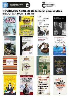 Novas lecturas para adultos na biblioteca Monte Alto do mes de abril.