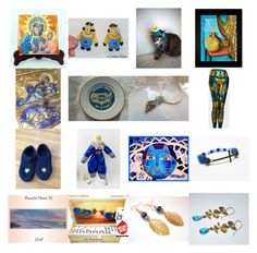"""""""Blue and Gold"""" by kateduvall ❤ liked on Polyvore featuring art and vintage"""