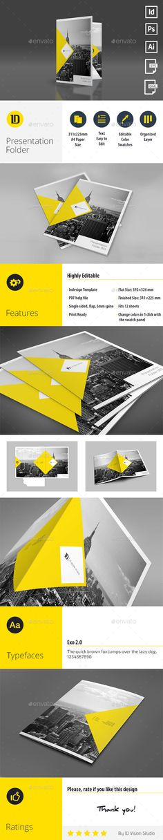 A4 Self Locking Multipurpose Presentation Folder 003 (Vector EPS, InDesign INDD, AI Illustrator, CS, 9x12, a4, branding, clean, color, corporate, corporations, creative, design, die cut, editable, elegant, elite, folder, indd, modern, presentation, presentation folder, print ready, print templates, simple, stationery, template, white)
