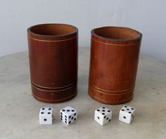 Italian LEATHER DICE CUPS Matching Pair Chestnut Brown Genuine Fine Calf Leather Bottom Compartment for Dice Elegant Italy Mid 1900's by OnceUpnTym on Etsy