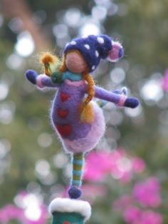 Needle felted Christmas tree top - the little ice- skating girl. $125.00, via Etsy. by katie