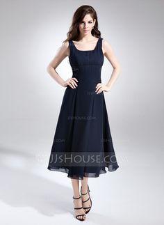 Bridesmaid Dresses - $99.99 - A-Line/Princess Square Neckline Tea-Length Chiffon Bridesmaid Dress With Ruffle (007015675) http://jjshouse.com/A-Line-Princess-Square-Neckline-Tea-Length-Chiffon-Bridesmaid-Dress-With-Ruffle-007015675-g15675?ver=xdegc7h0