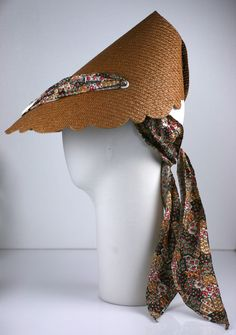 1950's Woven Straw Sun Visor   From a collection of rare vintage hats at https://www.1stdibs.com/fashion/accessories/hats/