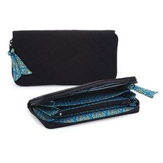 @WorldCrafts {Majestic Thai Wallet ~ Thai Country Trim ~ Thailand} Neutral black, quilted wallet lined with one-of-a-kind blue and gold Thai fabric that features 4 separate sections, a pocket on each end, 1 zippered pocket in the middle, and 6 card slots. Hand-sewn by artisans at Thai Country Trim in Thailand by battered women who are receiving emotional and financial support through making these products. #fairtrade #supportfreedom