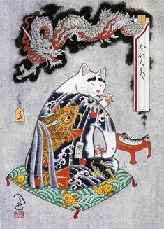 """Kazuaki """"Horitomo"""" Kitamura é um artista japonês que decidiu combinar duas de suas grandes paixões, gatos e tatuagens e criou essa incrível série de gatos tatuados intitulados Monmon Cats."""