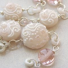 Necklace in Peach and White Handmade by sarahhornikjewelry, $290.00