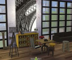 Around the Sims 4 | Custom Content Download | Objects | Industrial Loft Dining-Room