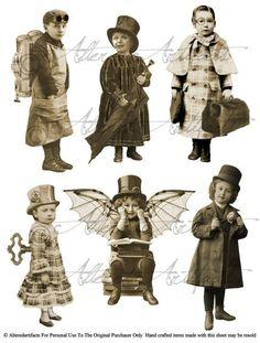 Steampunk Fairy Printable Sepia Paper Doll by AlteredArtifacts Éphémères Vintage, Motif Vintage, Images Vintage, Vintage Paper Dolls, Vintage Ephemera, Vintage Pictures, Vintage Prints, Collage Sheet, Collage Art