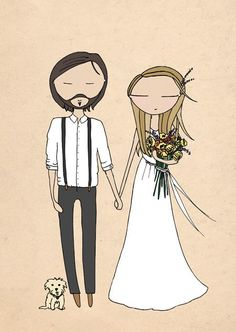 Really cute personalized illustrations for invitations by Blanka Biernat from London