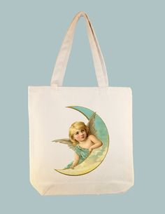 Angel Resting on Moon Blue Dress Vintage Image by Whimsybags