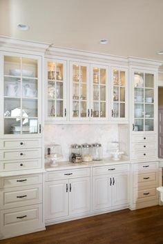 Thin glass dividers crown molding 1321 E Lakeshore Dr, Coeur d\'Alene, ID 83814 - Kitchen Redo, Home Decor Kitchen, Home Kitchens, China Kitchen, Kitchen Ideas, Pantry Ideas, Rustic Kitchen, Dining Room Storage, Dining Room Walls