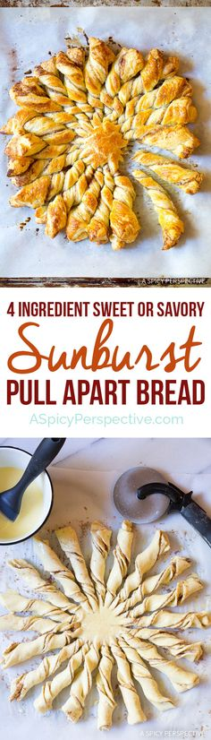 Great for the Holidays! Easy 4-Ingredient Sunburst Pull Apart Bread on ASpicyPerspective...