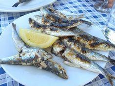 Espeto de sardinas. Local dish in Málaga Andalucia, Tapas, Fish, Kabobs