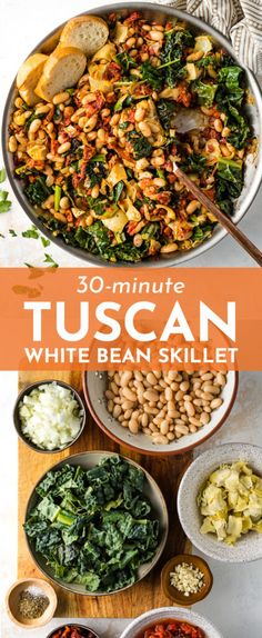 vegetarian recipes dinner A Tuscan White Bean Skillet is the ultimate way to change up your easy weeknight meals! Great flavors from garlic, sun-dried tomatoes, and artichoke hearts, and easy to make in under 30 minutes! Tasty Vegetarian Recipes, Vegetarian Recipes Dinner, Vegan Dinners, Meatless Whole 30 Recipes, Yummy Easy Dinners, Meatless Dinner Ideas, Easy Vegitarian Dinner Recipes, Healthy Vegetarian Dinner Recipes, Easy Dinner Meals