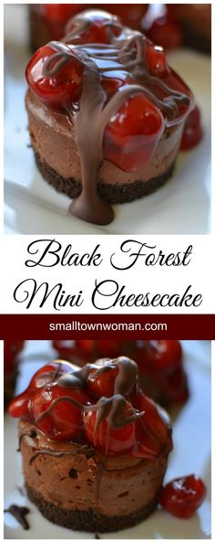 beautiful Black Forest Mini Cheesecakes are scrumptious and beautiful.These beautiful Black Forest Mini Cheesecakes are scrumptious and beautiful. Mini Desserts, Just Desserts, Delicious Desserts, Yummy Food, Mini Cheesecake Recipes, Spanish Desserts, Small Desserts, Raspberry Cheesecake, Oreo Cheesecake