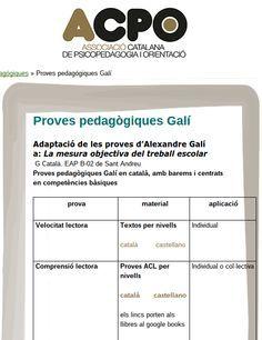 Proves pedagògiques Galí en català, amb barems i centrats en competències bàsiques