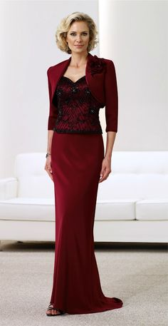 This will be the dress for Bianca's mother to wear. She said she wanted to mother in red and I brought in her other color, black, by choosing a dress with a beaded bodice. I think it's absolutely beautiful and the jacket brings in Bianca's modesty beliefs.