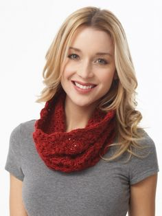 This lacy cowl is the perfect accent to any outfit, adding a splash of color and style in the fall and winter months. #crochet #valentinesday