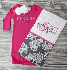 Monogrammed Baby gown and burp cloth in hot by ChesapeakeBayby, $38.00