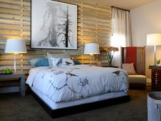 Lori Dennis, Dennis Design Group: For a free bedroom update, recruit friends and clean out the clutter, including items you don't need or don't use. Give them to your friends, sell them or donate them. Bedrooms should be minimal in furnishings — a calm, quiet place to regenerate. To top off your new clean room, buy a tree or a few plants for fresh air and good energy. You haven't spent a dime yet, and your room already looks refreshed. Design by Linda Woodrum for HGTV Green Home 2011