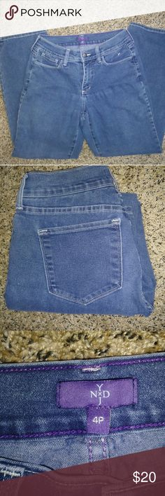NYDJ Jeans Petite Size 4 Straight Leg Gently used. No flaws. It is a petite size. Measurements Waist (laying down) 14 in Rise 9 in Length of the leg (from the very top) 37 in Width of the bottom of the leg 8 in NYDJ Jeans Straight Leg