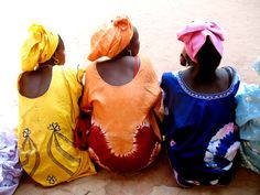 Senegalese women dressed in colorful boubous