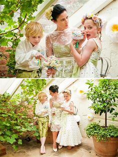 Cute button bouquet for flower girls. Bridesmaid Shoot 052