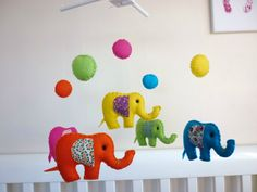 Rainbow Baby Elephants - Felt Nursery Baby Mobile