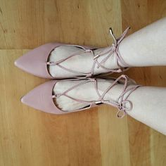 NEW  Lace-Up Ballerina Flats in Blush Brand new classic lace up flats for the fashionista in you. Blush color with golden heels. True to size. Faux leather with rubber heels. Boutique Shoes Flats & Loafers