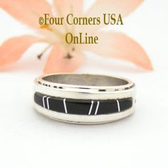 Size 6 Black Jet Channel Inlay Wedding Band Ring by Native American Indian Jewelry Artisan Wilbert Muskett Jr Sterling Silver Jewelry.Four Corners USA OnLine Jewelry Navajo Jewelry, Sterling Silver Jewelry, Four Corners Usa, Great Anniversary Gifts, American Indian Jewelry, Native American Indians, Wedding Ring Bands, Jets, Everyday Fashion
